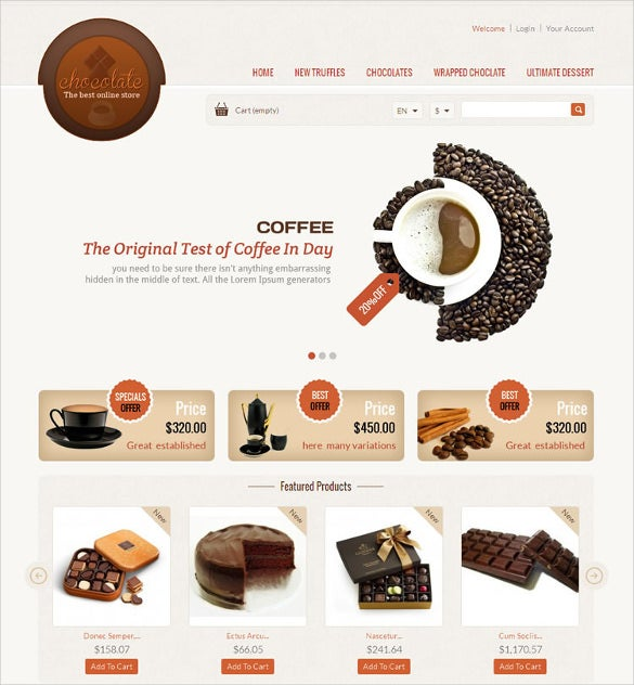 chocolate shop prestashop mobile responsive template