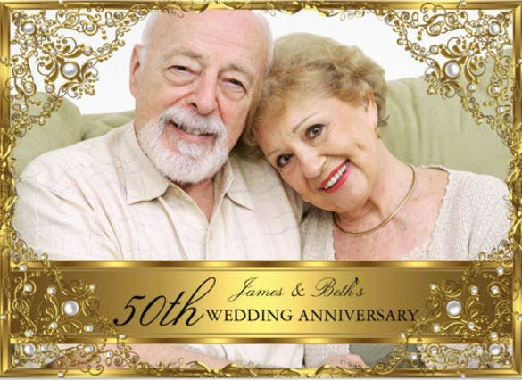 Golden Wedding Invitation Card Sample | Infoinvitation.co