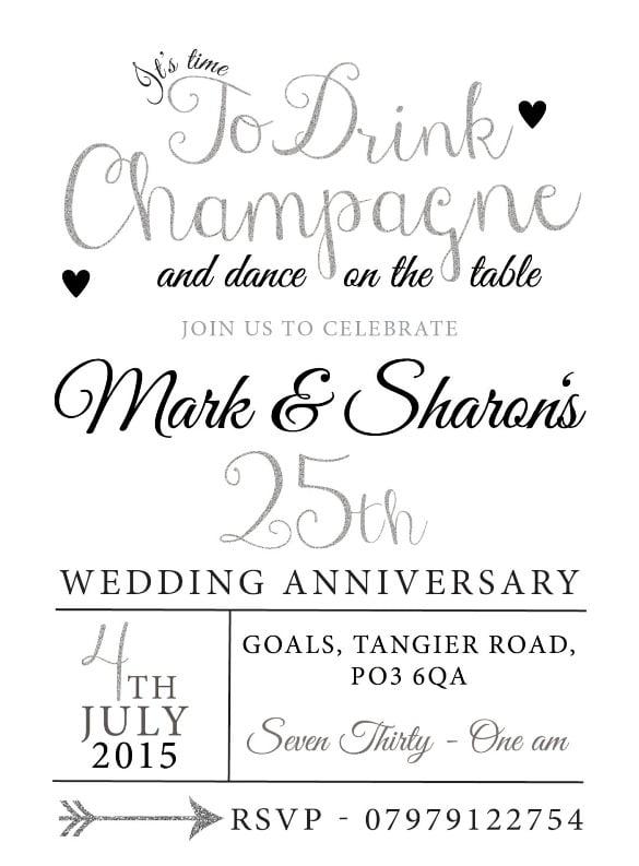 silver glitter birthday anniversary invitations