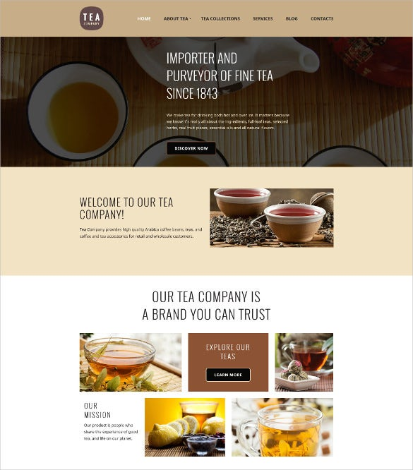tea shop responsive moto cms 3 mobile template