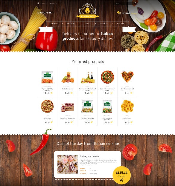 italian food bootstrap opencart mobile template