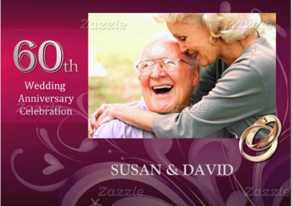 pink 60th wedding anniversary party invitations