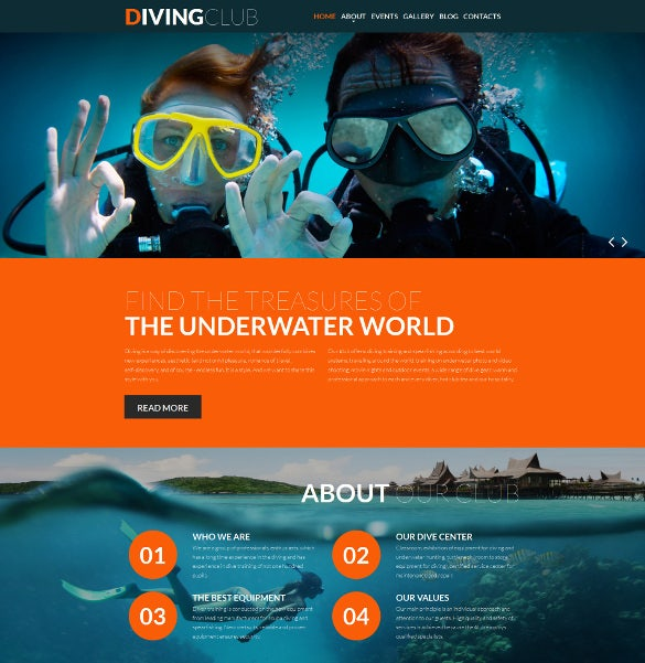 diving responsive moto cms 3 bootstrap mobile template