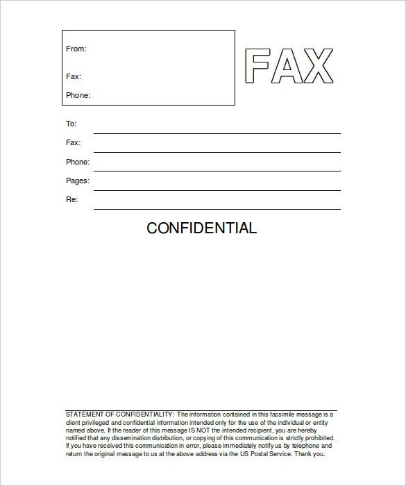 Printable Fax Cover Sheet 10 Free Word PDF Documents Download – Sample Blank Fax Cover Sheet