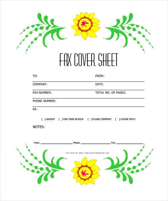 free printable fax cover sheet template flowers pdf download