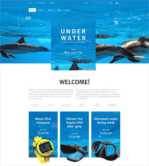 diving responsive virtuemart mobile template