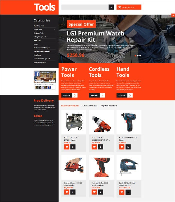 tools equipment responsive virtuemart mobile template