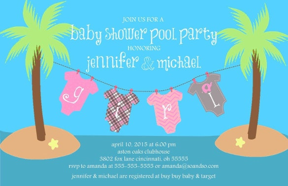 onesie palm trees islandcustom baby shower invitation boy