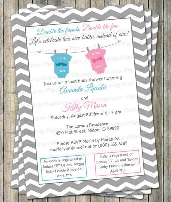 11 onesie invitation templates free sample example format joint baby shower invitation double shower mustache filmwisefo