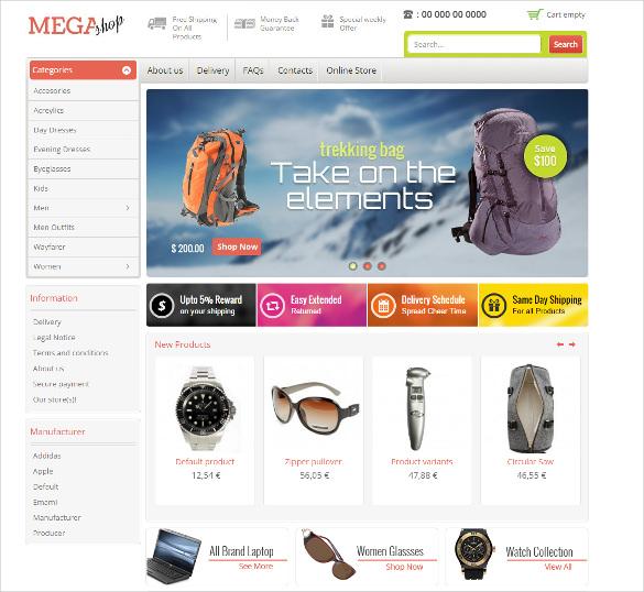 mega shop virtuemart mobile responsive theme