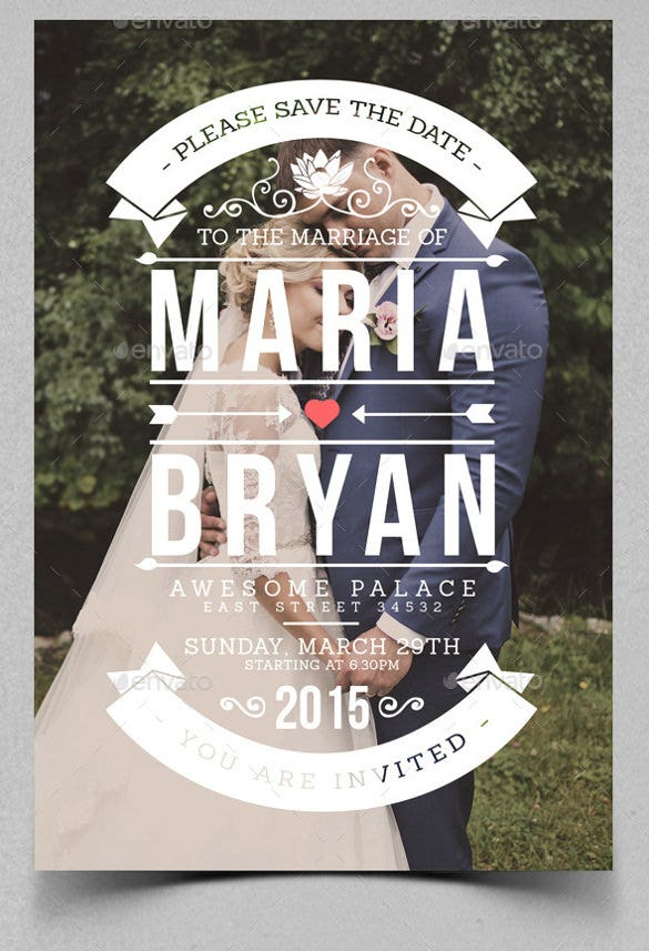vintage wedding invitation psd format
