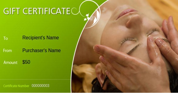 7 Massage Gift Certificate Templates Free Sample Example – Gift Card Samples Free