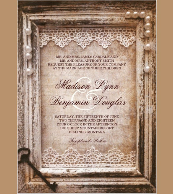 Rustic Vintage Wedding Invitation PSD Format