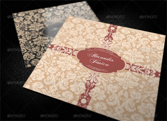 7 vintage wedding invitations template psd format