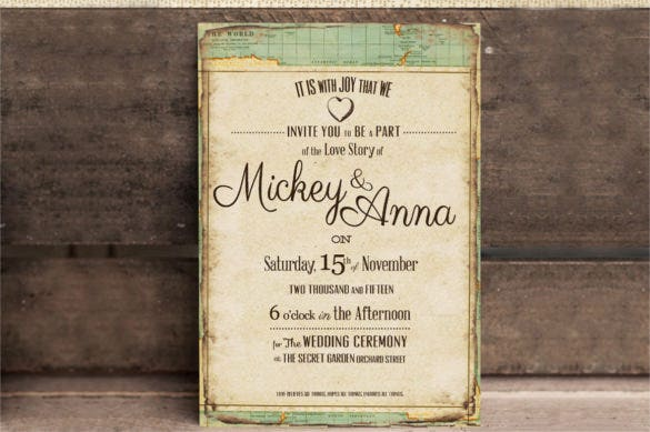 vintage journey wedding invitation psd format