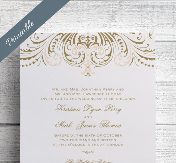 vintage wedding invitation printables blush and gold psd format