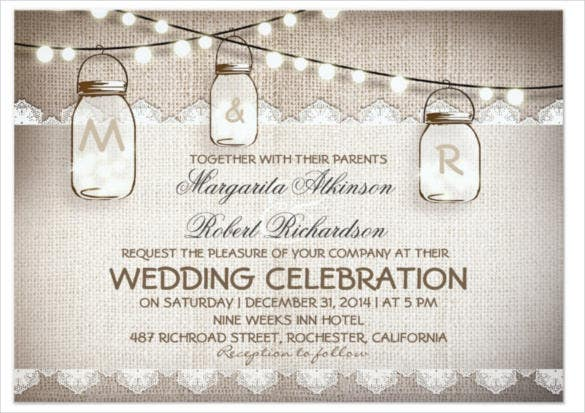 burlap lace string lights vintage wedding invitation psd format
