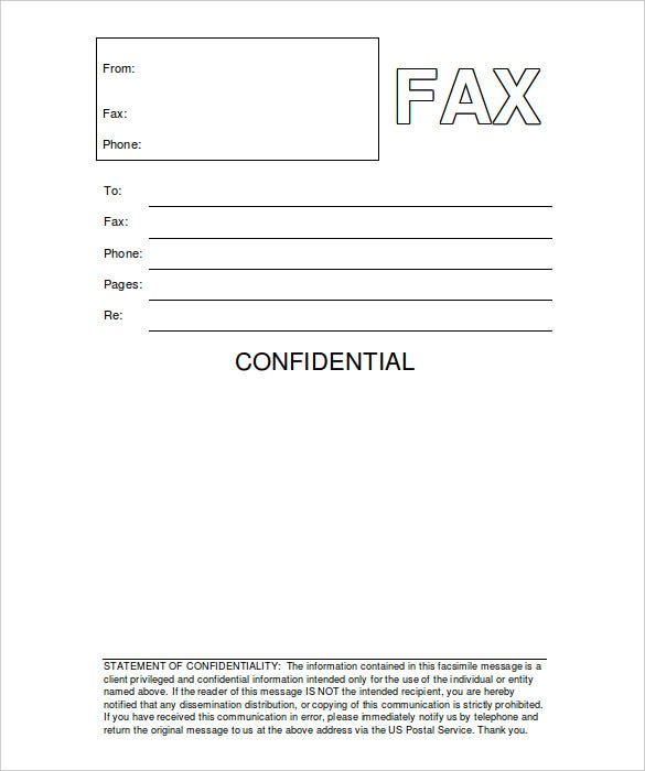 Confidential Fax Cover Sheet 8 Free Word PDF Documents – Fax Cover Word