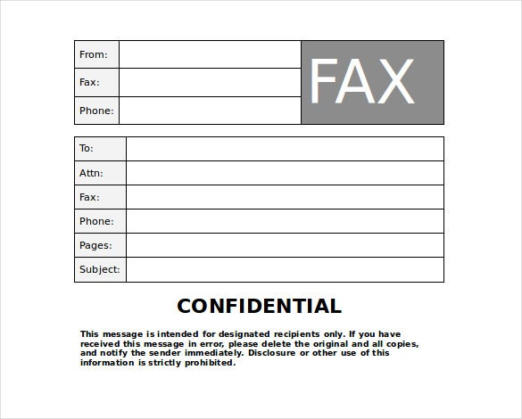 10 Confidential Fax Cover Sheet Templates Free Sample Example – Sample Blank Fax Cover Sheet