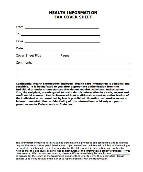 health information fac cover sheet template pdf printable