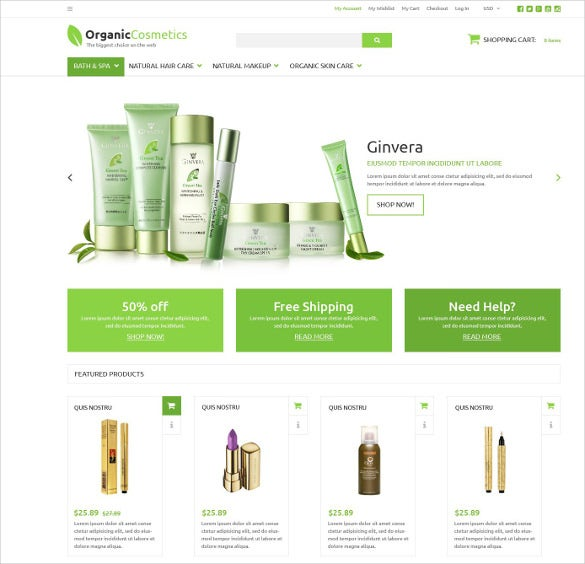 organic products store mobile zencart template