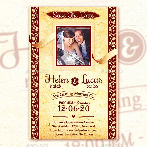 elegant vintage wedding invitation with rsvp psd format