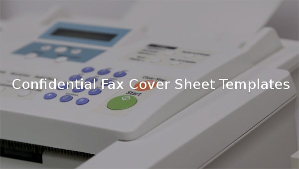 confidential fax cover sheet templates