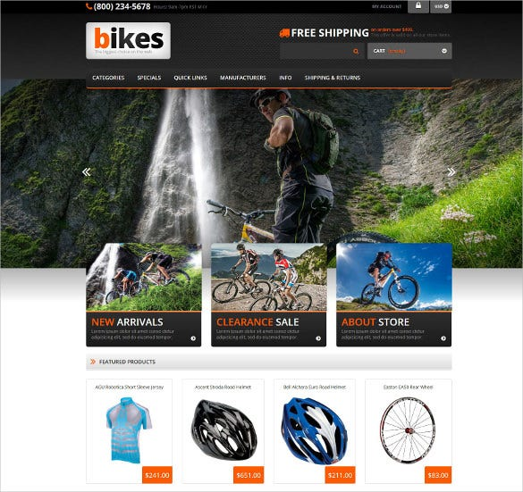 cycling responsive mobile zencart template