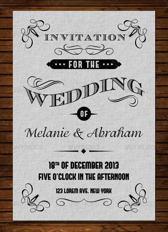 Vintage Wedding Invitation Templates  Free Sample Example
