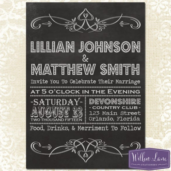 chalkboard vintage wedding invitations psd format template
