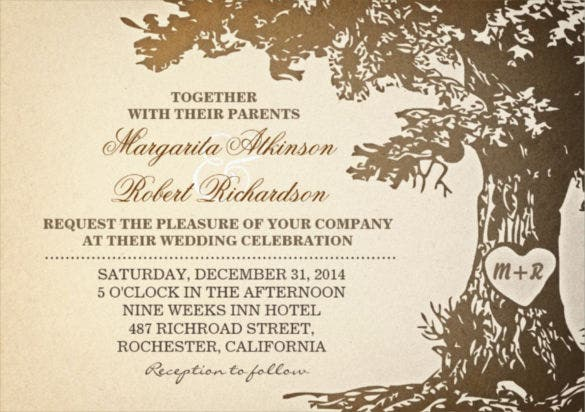 old oak treevintage wedding invitations psd format template