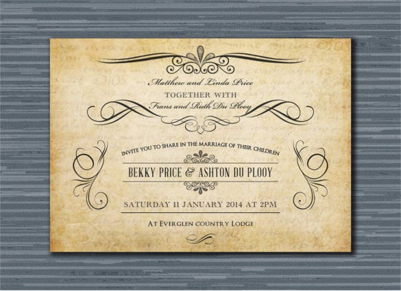 digital printable vintage wedding invitation psd format