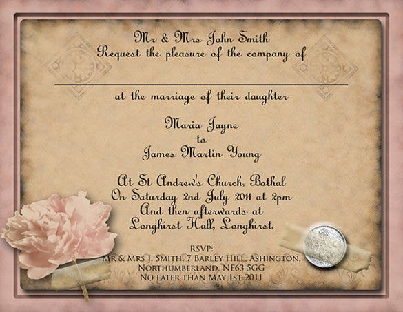 flower motif vintage wedding invitations template psd format