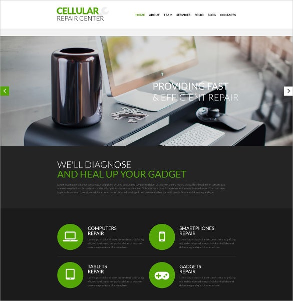 celluar repair center psd mobile template