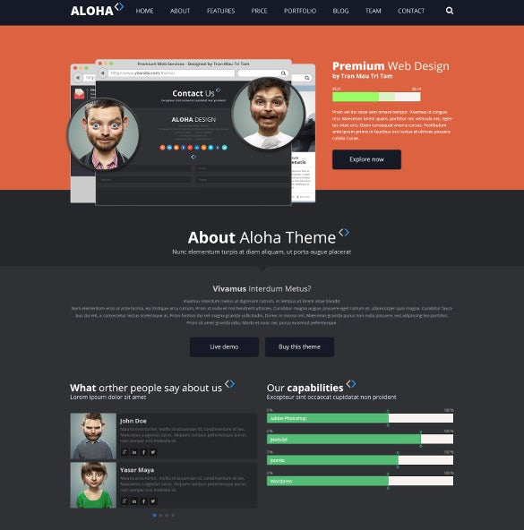 one page web design company psd mobile template