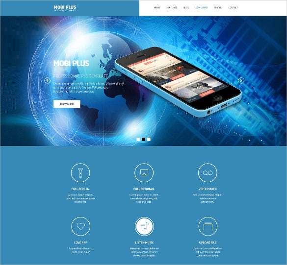mobi plus psd website mobile template