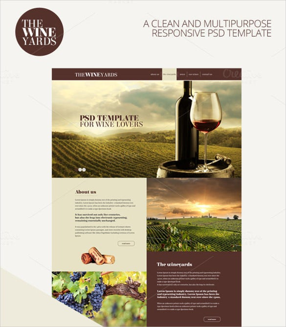 wineyards responsive psd mobile template