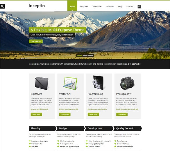 inceptio mobile html psd template