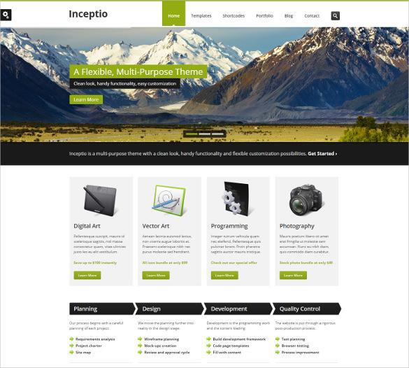 inceptio mobile html psd template