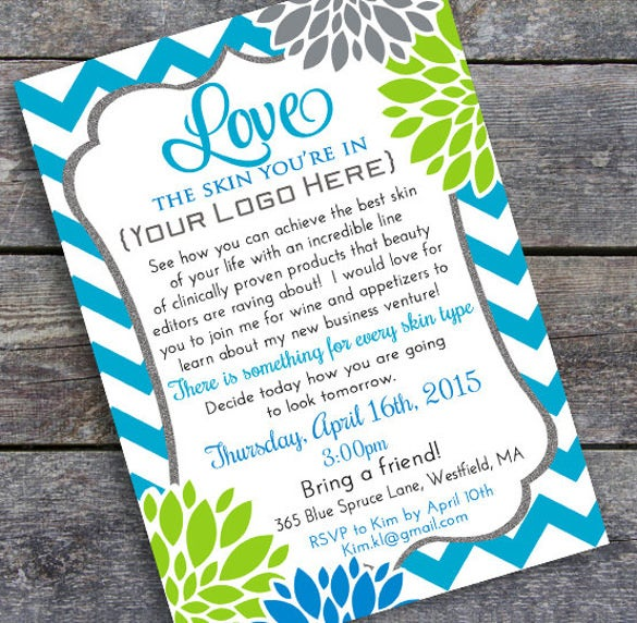 23 business invitation templates free sample example format blue chevron business party invitation card cheaphphosting Images