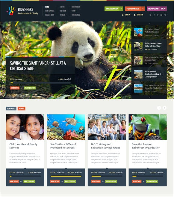 environmental charity php wordpress theme