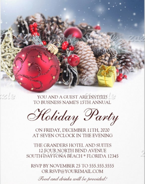 Festive Business Holiday Party Invitation Template  Christmas Dinner Invitations Templates Free