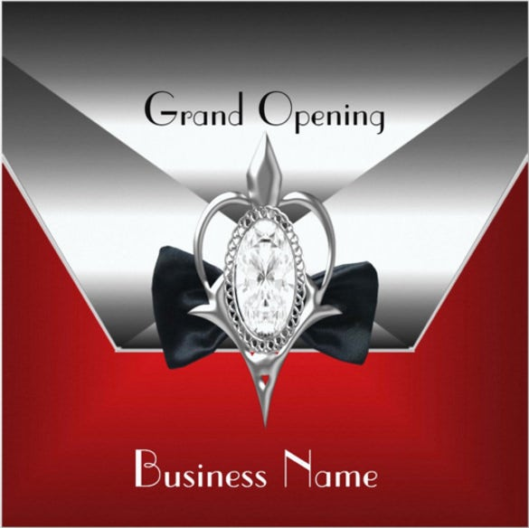 business opening red silver diamond jewel invitation1