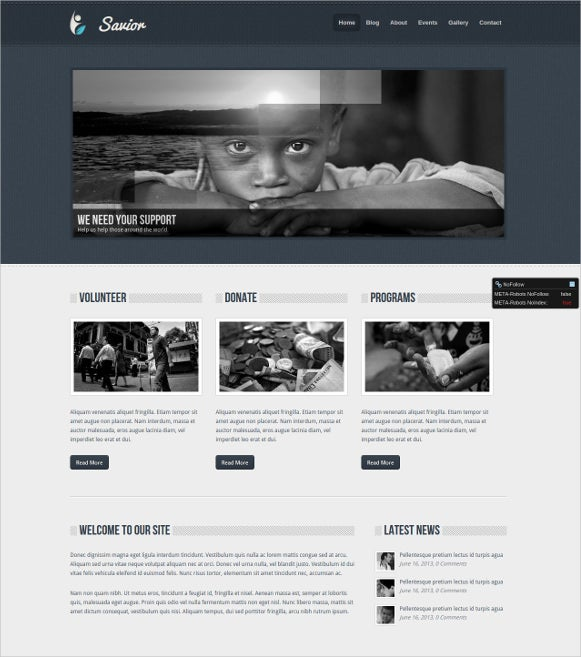 dark charity php template