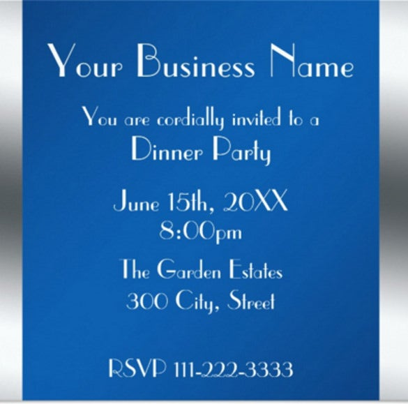 Blue Business Invitation Card  Corporate Party Invitation Template