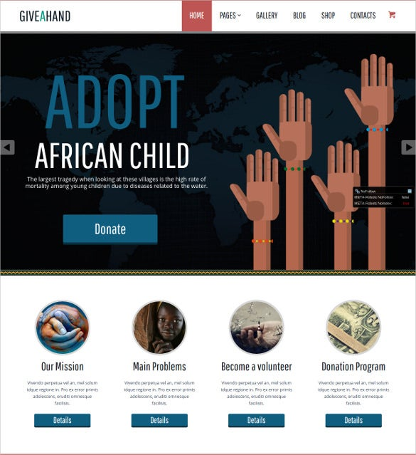 resposive charity php wordpress theme
