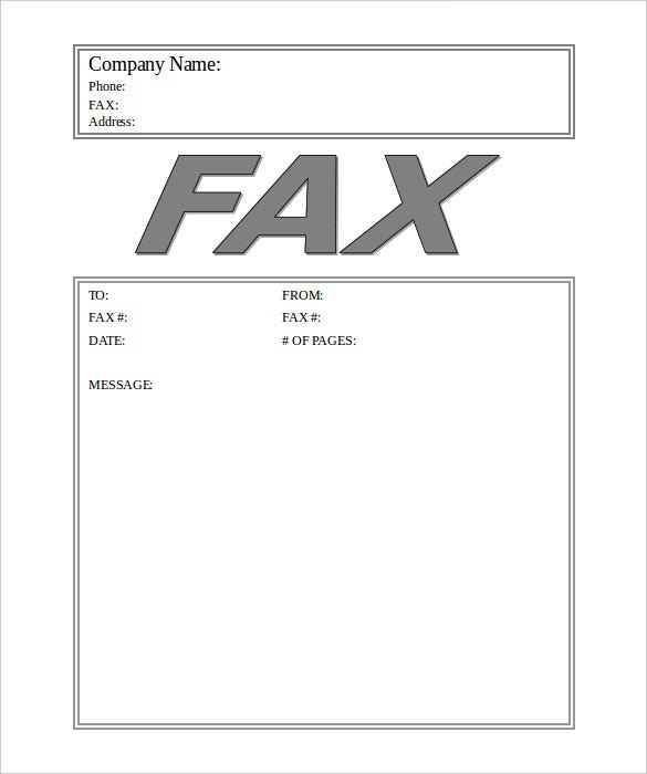 Big Fax Business Cover Sheet Template Word Doc
