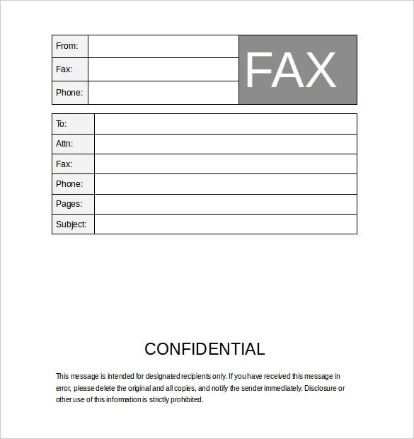 business confidential fax template word free download