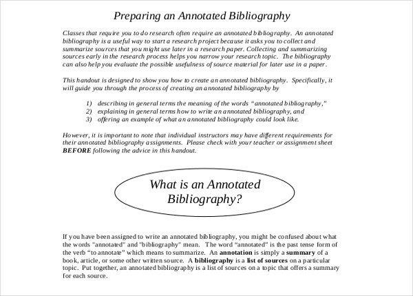 Preparing Annotated Bibliography PDF Format Free Download