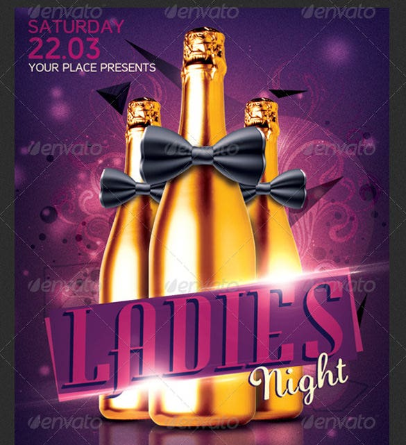 ladies night bachelorette flyer template